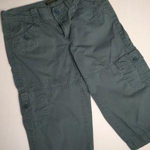 Cargo Capri Pants Eddie Bauer Grayish Green Sz 10